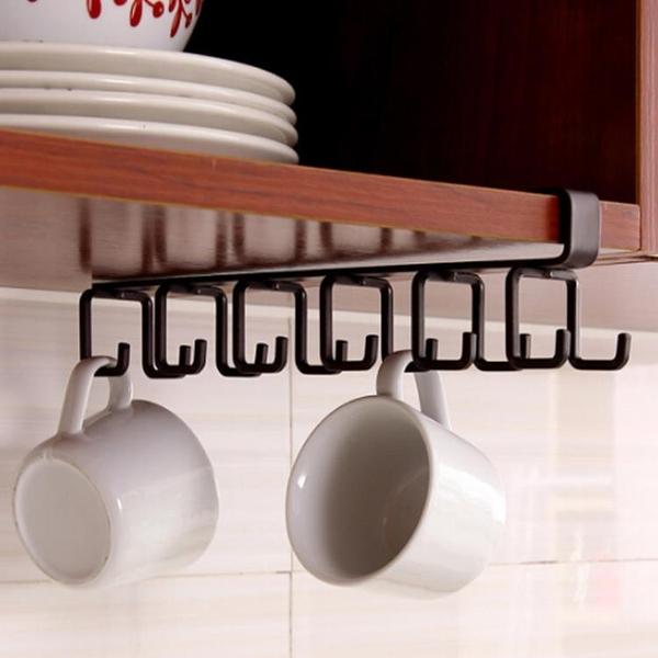 杯架杯子架子瀝水架廚柜下掛式杯架 懸掛式免釘掛鉤湯勺收納架 快速出貨