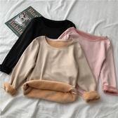 打底衫女秋冬洋氣網紅百搭修身韓版基礎內搭長袖加絨保暖內衣 雅楓居