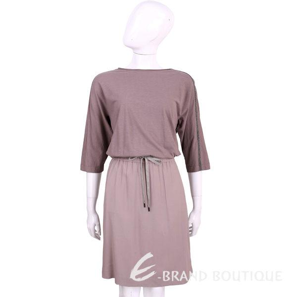 FABIANA FILIPPI 紫耦色雙料拼接七分袖綁腰洋裝 1620203-47