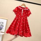 女童連身裙夏裝新款兒童紅色波點女孩洋氣雪紡公主長裙子超仙 流行花園