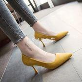 細跟高跟鞋  尖頭中跟高跟鞋女裸色絨面細跟單鞋禮儀黑色百搭職業鞋 『歐韓流行館』