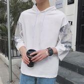 夏季男士短袖T恤正韓連帽衫五分袖衛衣大碼寬鬆半袖七7分袖t恤潮