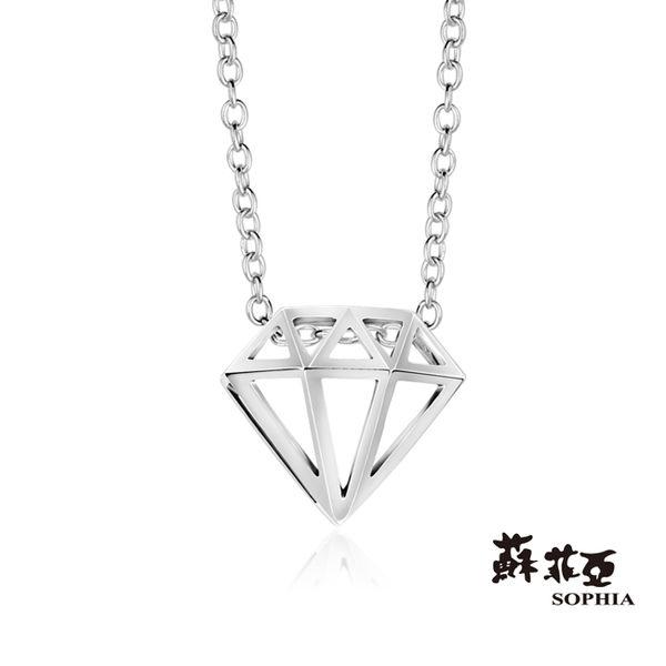 鑽石造型純銀項鍊