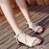 韓版低跟涼鞋女夏2018新款交叉綁帶復古羅馬鞋一字扣學生平底涼鞋