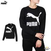 Puma 女款 黑 長袖 上衣 大學T 棉 長T 流行系列 長厚 T恤 長袖 57760901