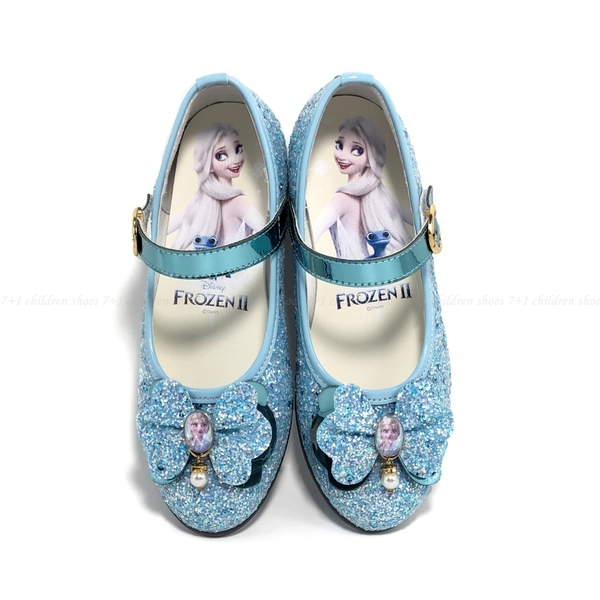 《7+1童鞋》冰雪奇緣 閃亮 蝴蝶結 微高跟 娃娃鞋 公主鞋 E609 藍色