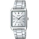 CASIO手錶簡約方形銀色鋼錶NEC155