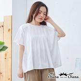 【Tiara Tiara】百貨同步ss 立體皺褶微透短袖上衣(白)
