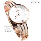 GOTO Marine 海洋系列 羅馬簡約時尚手錶 纖細手環錶 玫瑰金電鍍x白 女錶 GS0096L-44-241