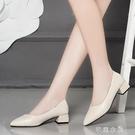 小皮鞋女中跟英倫風春新款粗跟尖頭淺口百搭職業工作女單鞋 芊惠衣屋