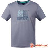 Wildland 荒野 0A61608-90灰色 男咖啡紗印花抗菌上衣 抗紫外線/彈性纖維/吸濕排汗/休閒衫/圓領T