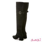 amai顯瘦貼腿後開衩金屬釦飾過膝靴 絨布黑