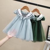 女童夏裝連身裙蝴蝶結洋氣童裝寶寶蓬蓬紗公主裙兒童小女孩裙子 流行花園