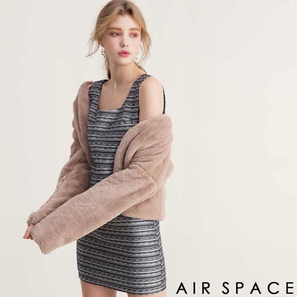 洋裝 無袖修身拉鍊橫條洋裝1色 -AIR SPACE