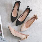 黑色高跟鞋女細跟尖頭貓跟鞋百搭2018新款單鞋中跟裸色伴娘鞋 晴天時尚館