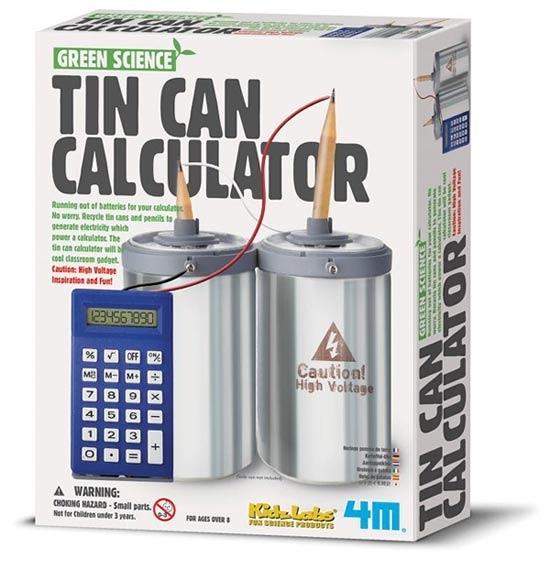 環保計算機Tin Can Calculator 鋁罐+鉛筆製成一個小型發電體