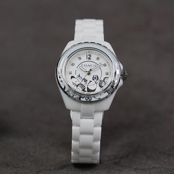 聖誕送禮推薦 Coach 紐約 茶花時尚精品陶瓷女錶-32mm CO14503464