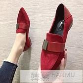 網紅豆豆鞋女2020新款秋季百搭時尚尖頭一腳蹬粗跟網紅兩穿單鞋子 牛轉好運到