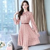 依Baby 洋裝 法式初戀裙秋裝新款復古超仙氣質顯瘦波點碎花連身裙