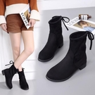 襪筒靴秋冬新款短板靴女中筒粗跟高跟圓頭瘦腿短靴百搭女生靴【全館上新】