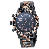 NIXON The 40-20 CHRONO 強眼魅力鋼帶腕錶-黑x玳瑁