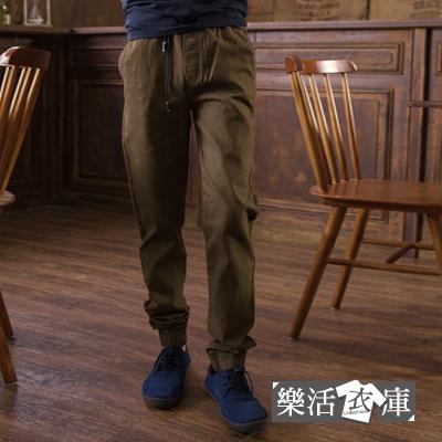 【7287】時尚刺繡圖騰抽繩束口休閒長褲(褐綠)● 樂活衣庫