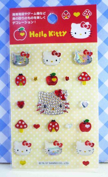 【震撼精品百貨】Hello Kitty 凱蒂貓~KITTY立體鑽貼紙-紅蘋果