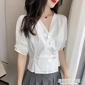雪紡白襯衫短袖女夏季2020年新款時尚短款上衣歐洲站小衫收腰洋氣 中秋節全館免運