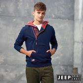 【JEEP】美式休閒造型拉鍊連帽TEE (藍)
