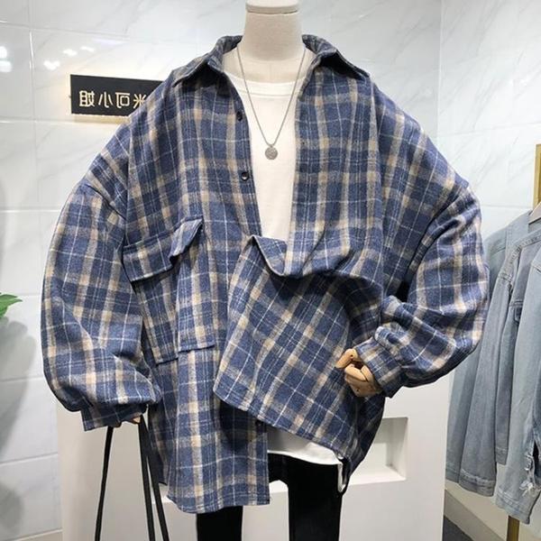 襯衫 小眾復古港味格子襯衫女寬松外穿百搭長袖外套襯衣洋氣上衣【牛年大吉】