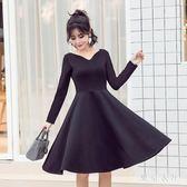 一字領年會小禮服秋季新款女裝連衣裙赫本優雅大擺小黑裙黑色 QQ16855『東京衣社』