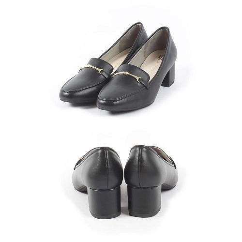 【ORiental TRaffic】簡約金屬釦飾方頭中跟鞋-皮革黑
