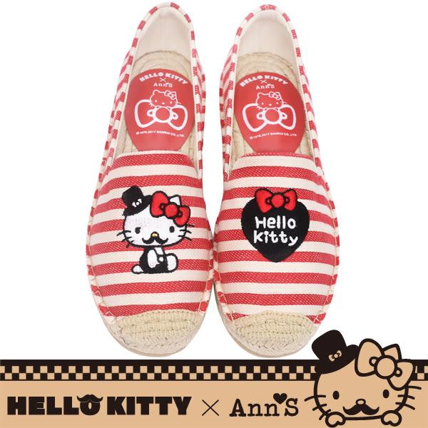 HELLO KITTY X Ann'S小幸運達利不對稱刺繡平底草編鞋-紅