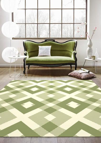 地毯 范登伯格 艾嘉麗 新元素進口地毯 菱格綠80x150cm