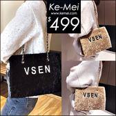 克妹Ke-Mei【ZT49333】歐洲站 定制!皮革電繡字母長毛海硬殼大方包