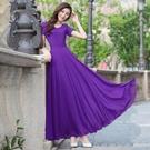 修身洋裝雙層優質長裙夏雪紡連身裙女202...