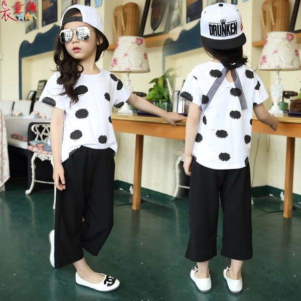 衣童趣♥中大女童 夏季 韓版點點時尚短袖+寬口長褲 外出休閒百搭款 兩件式套裝組合