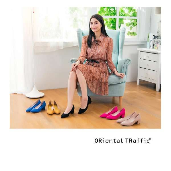 【ORiental TRaffic】百搭亮色尖楦粗跟鞋-唯美粉