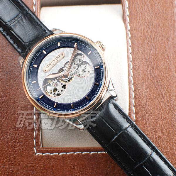Kenneth Cole 個性指標 雙面鏤空 腕錶 自動上鍊機械錶 男錶 玫瑰金x黑色 真皮錶帶 KC51020002