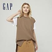 Gap女裝 純棉質感厚磅無袖T恤 688847-駝色