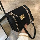 純色小包包女2018新款潮韓版百搭斜挎包時尚鏈條單肩包磨砂小方包快速出貨