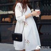 孕婦洋裝 夏裝上衣連衣裙韓國時尚寬松大碼刺繡碎花棉麻孕婦裙