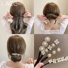 盤髪器 2021韓國代購春夏新款丸子頭盤髮器網紅懶人珍珠鉆編髮造型神器女