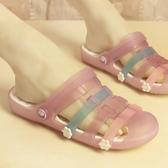 新款防滑平底涼鞋女夏季瑪麗珍韓版可愛洞洞鞋學生時尚沙灘拖鞋潮