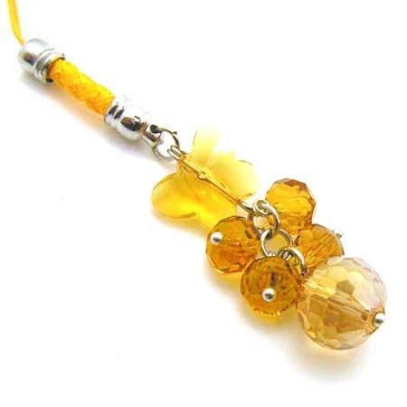 金黃色水晶蝴蝶串珠吊飾