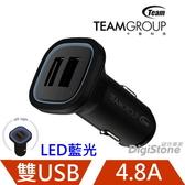【賠售+折100元+免運】TEAM 十銓 USB車充 WD01 4.8A (2.4A+2.4A) USB雙孔車用充電器 (藍光LED電源指示光圈)X1