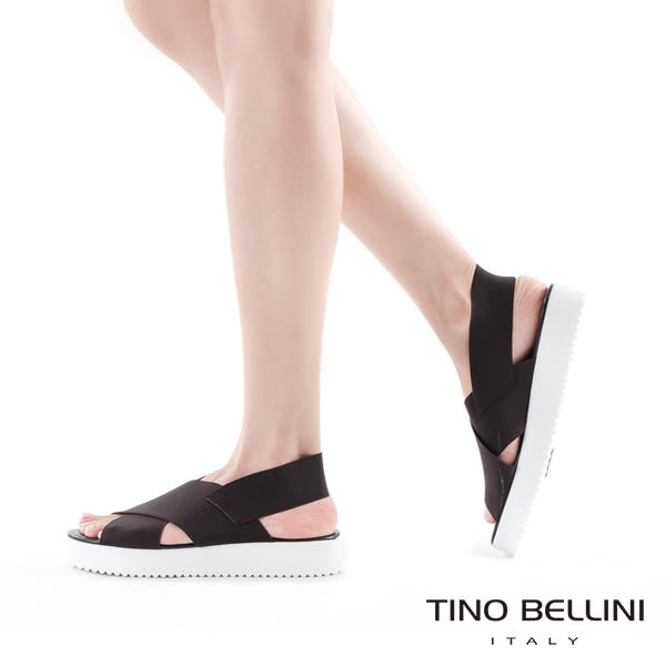 Tino Bellini 義大利進口交叉繃帶厚底涼鞋(黑)_A63049  2016SS歐洲進口款
