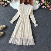 春季新款超仙白色顯瘦加絨蕾絲洋裝中長款內搭長袖打底裙子 伊衫風尚