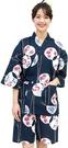 Nishiki【日本代購】和式清涼居家服 睡衣 上下套裝 棉100%-鉄紺地丸輪