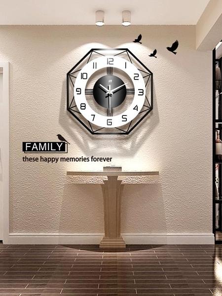 現代簡約鐘表掛鐘客廳個性創意時尚北歐時鐘家用表大氣靜音石英鐘 NMS滿天星
